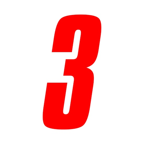 Racing Number Decals >> 3 inch tall Red Race Number 3 racing numbers decals | eBay